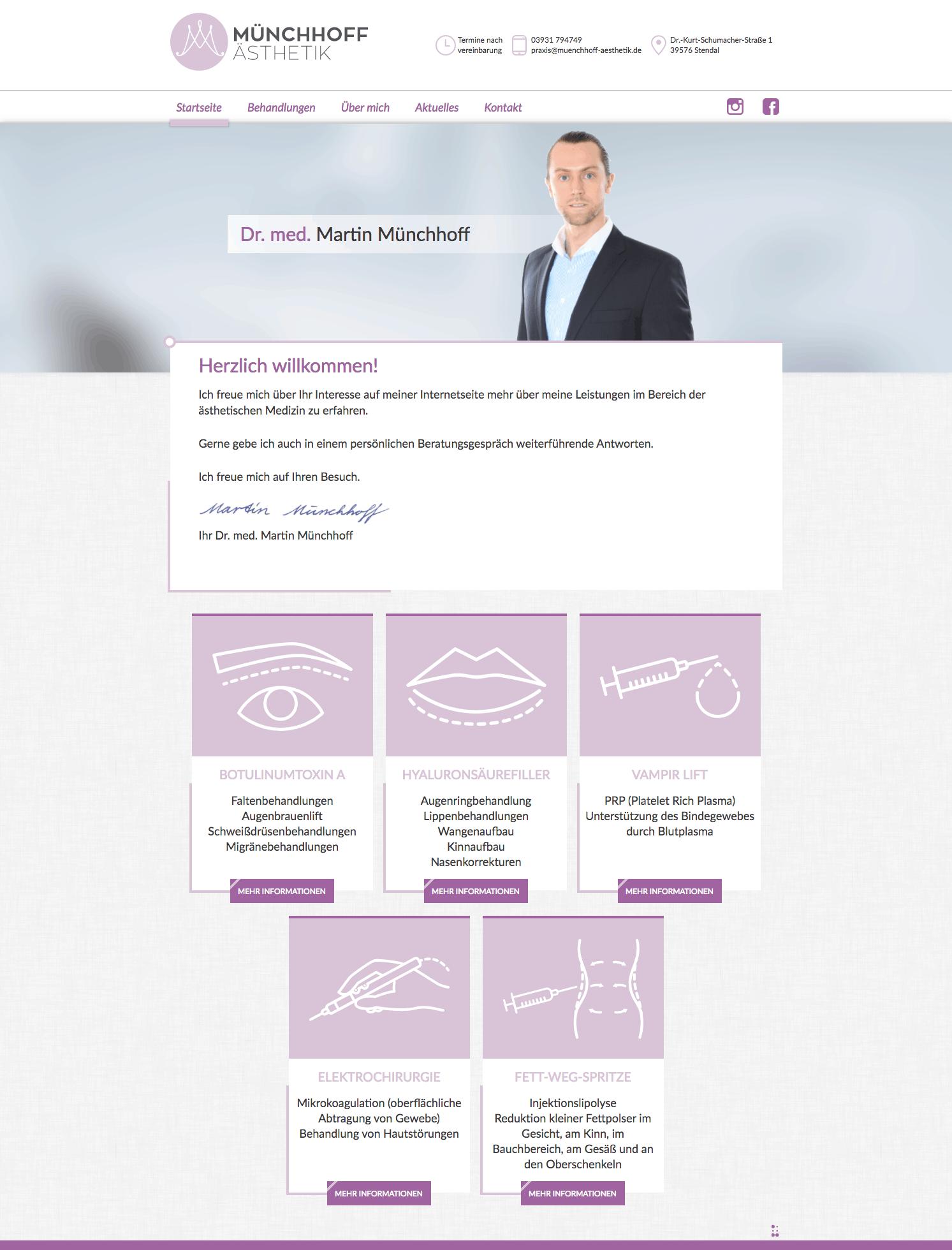 Webdesign für  Münchhoff Ästhetik