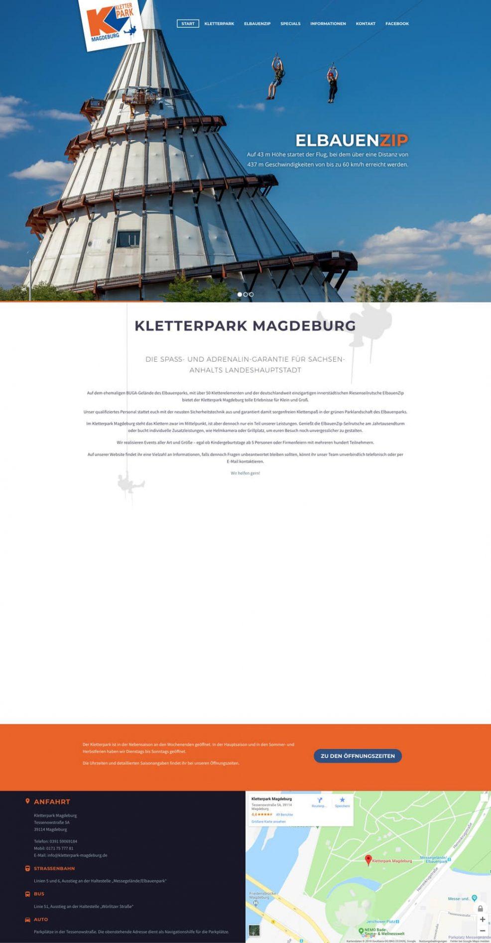 Website für  Kletterpark Magdeburg