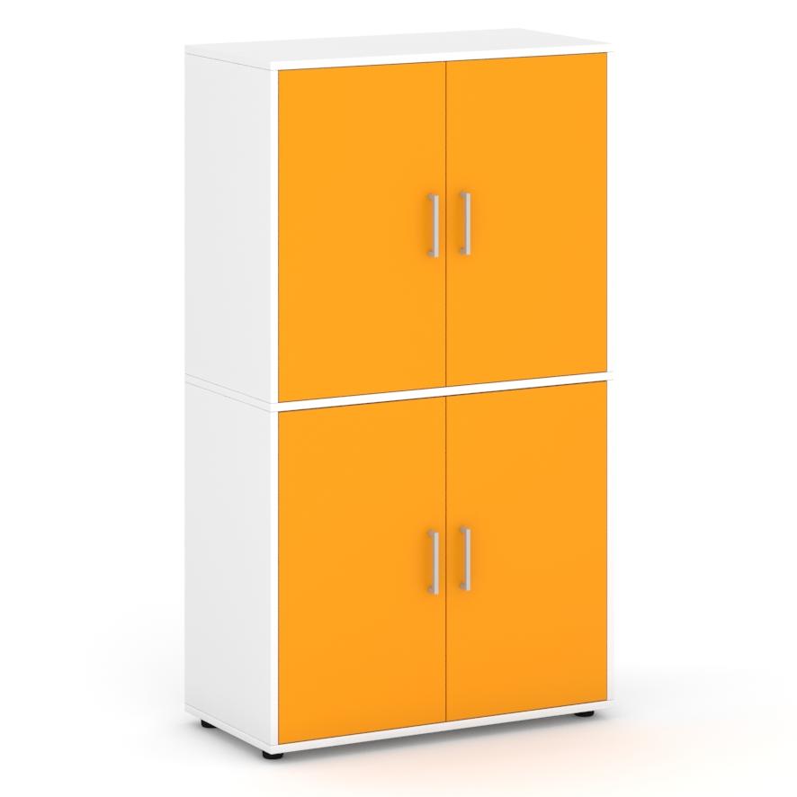 Armario-de-160-cm-de-altura-con-4-puertas-con-espacios-interiores-naranja