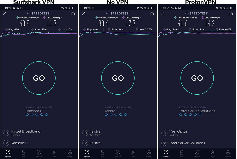 Speed Test - Surfshark VPN vs ProtonVPN