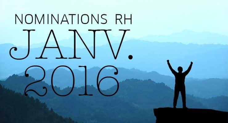 Les nominations RH du mois de janvier 2016