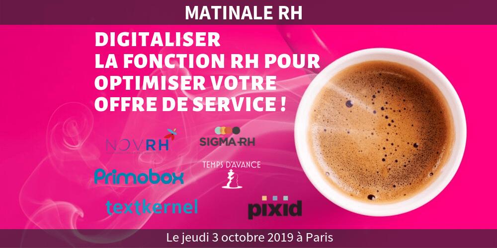 Matinale RH – Digital RH : Digitaliser la fonction RH pour optimiser votre offre de service !