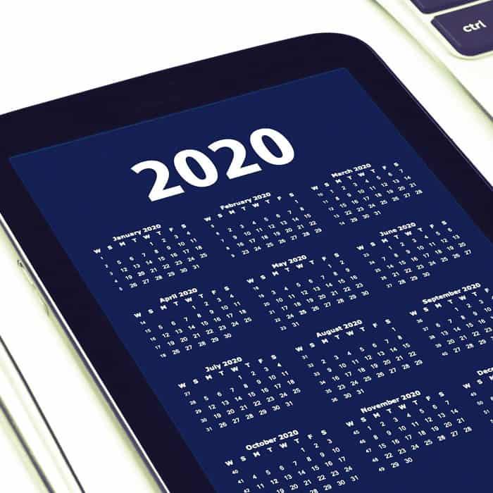 2020 Social Media Content Calendar