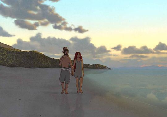 Le couple et l'enfant sur la plage dans La Tortue Rouge