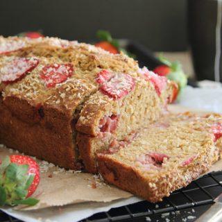 Roasted Strawberry Coconut Yogurt Bread