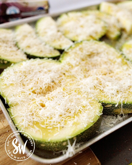 Roasted Parmesan Courgettes Zucchini  on a roasting tray