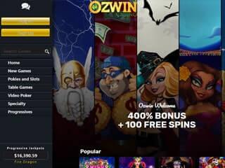 ozwin casino lobby screenshot