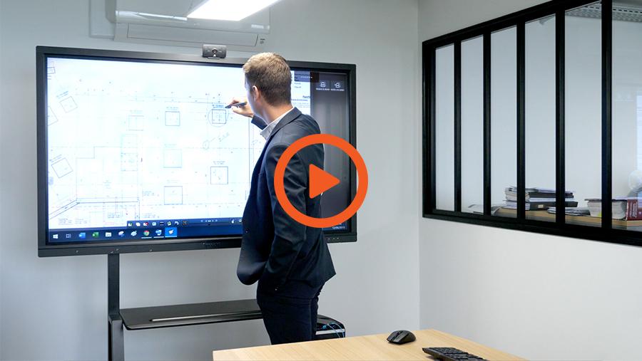 la vidéo d'interview du bureau d'étude Sodeba sur écran interactif