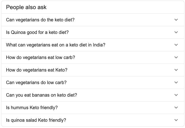 keto vegetarian - Google snippet