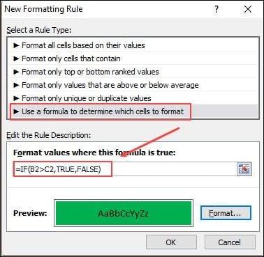 Excel conditional formatting formula.