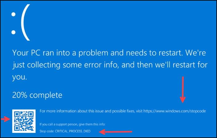 Windows error message with QR code.