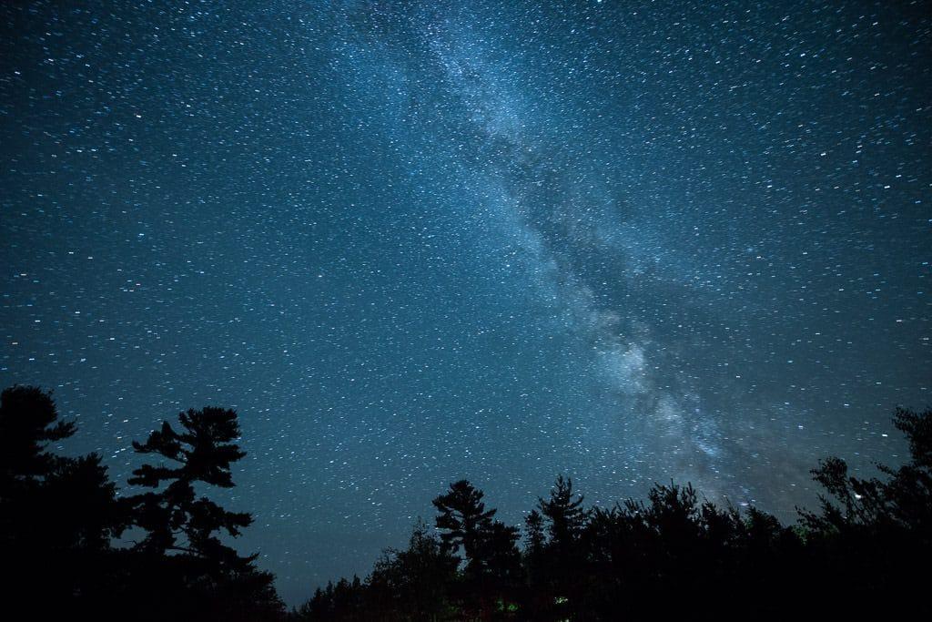 Milky way in kejimkujik national park over some trees