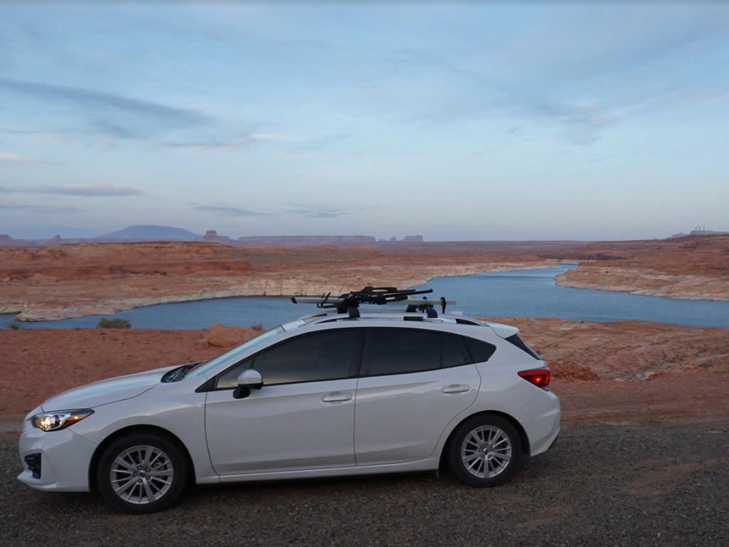 subaru at lake powell on road trip thrugh Arizona