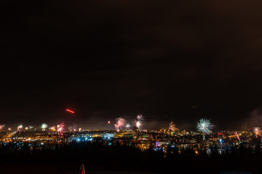 views from perlan reykjavik fireworks on new year's eve