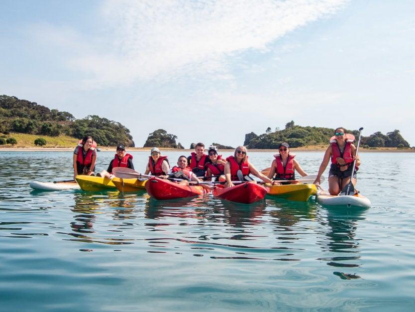 kayaking to Motuarohia Island in bay of islands explorations on rock the boat