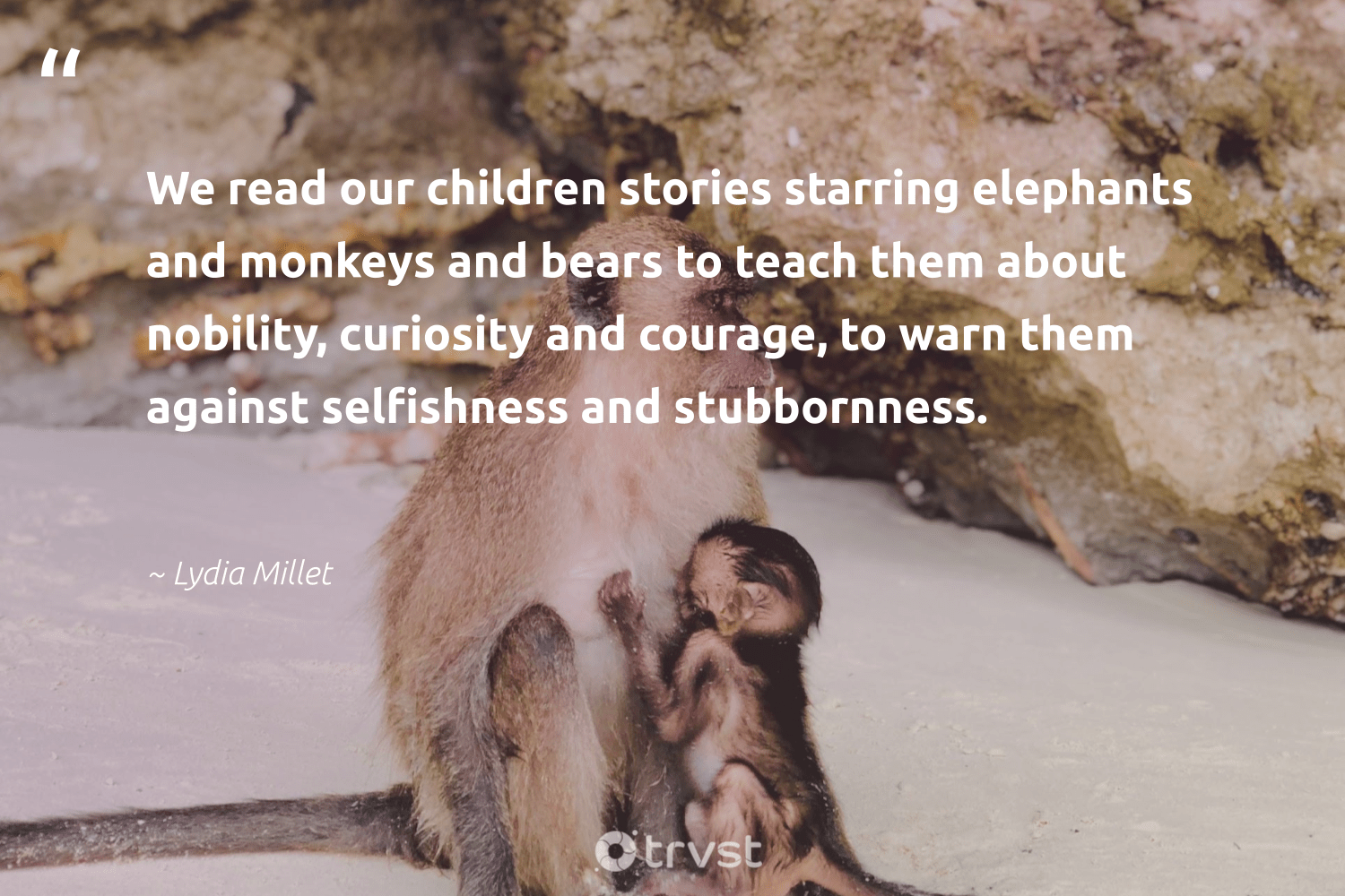 """We read our children stories starring elephants and monkeys and bears to teach them about nobility, curiosity and courage, to warn them against selfishness and stubbornness.""  - Lydia Millet #trvst #quotes #children #elephants #monkeys #bears #monkey #dogood #animalphotography #changetheworld #wildlifeprotection #takeaction"