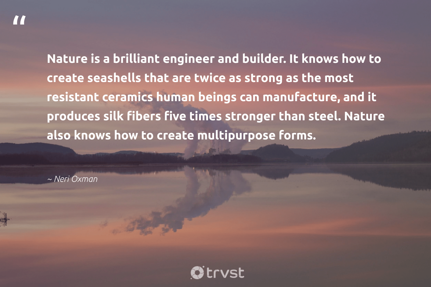 """""""Nature is a brilliant engineer and builder. It knows how to create seashells that are twice as strong as the most resistant ceramics human beings can manufacture, and it produces silk fibers five times stronger than steel. Nature also knows how to create multipurpose forms.""""  - Neri Oxman #trvst #quotes #environment #nature #planet #sustainableliving #noplanetb #socialimpact #sustainable #earth #dogood #conservation"""