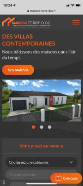 Capture d'écran du site mobile de Maison Terre D'Oc