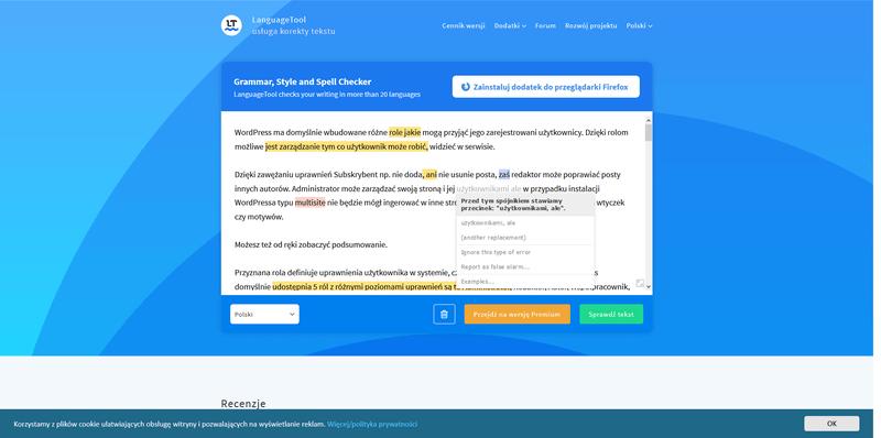 Wielojęzyczny korektor gramatyczny tekstów