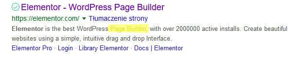 Page builder elementor rónież brak słowa composer w opisie