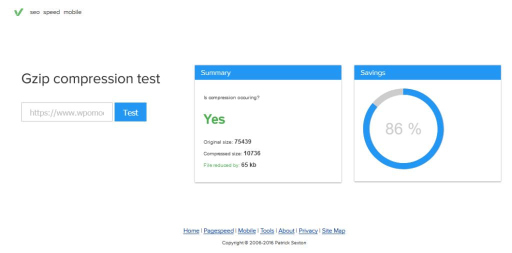 narzędzie online do wykrywania czy transmisja z serwera jest kompresowana