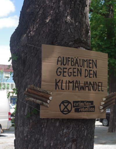 """Baumdemonstrant """"Aufbäumen gegen den Klimawandel"""""""