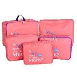 LerBen® 5pcs Travel Essential Bag-in-Bag Travel Luggage Organizer Storage Handle Bag Pouch Set Red