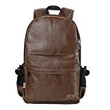 Koolertron Classic Casual PU Leather Vintage Fashion Unisex School Student Laptop Backpack (14