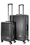 Aerolite Total Security Ultra Secure Zip-Free Hard Shell Luggage Suitcase - 8 Wheels Spinner, Polycarbonate/Aluminium Body, TSA Approved Locks (20/28 Inch Set, Black)
