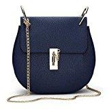 B1 Fashion Women High Grade PU Leather Purse Valentine Chain bag Shoulder & Cross Body Bags 9 Colors (navy blue)