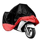 Universal Waterproof Dust Sun proof Indoor Outdoor Motorcycle Motorbike Cover for Harley Davison, Honda, Suzuki, Yamaha, Kawazaki Etc, Package Bag Include (Black/Red, XL)