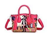 Fanova Women Girls Personalized DIY Cartoon Handbags Cute PU Bag Top Handle Shoulder Bag Tote (Red)