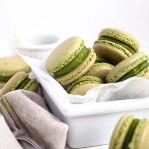Matcha French macarons with a white chocolate green tea ganache