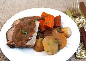 Sliced Slow Cooker Pot Roast on plate