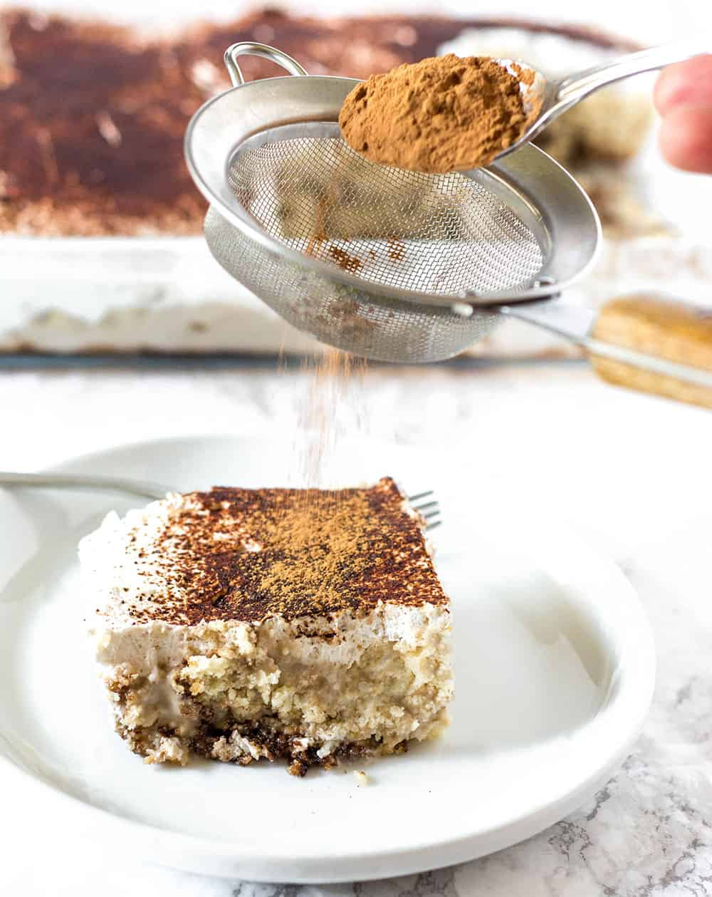 Tiramisu Cake Dusting With Carob Powder