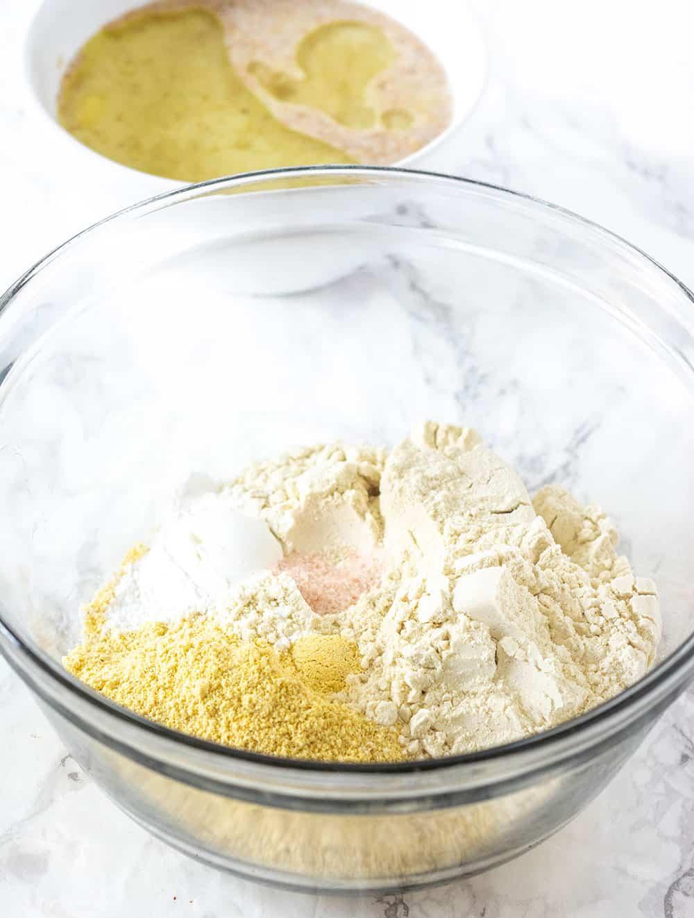 Vegan Gluten-Free Cornbread Ingredients in 2 bowls