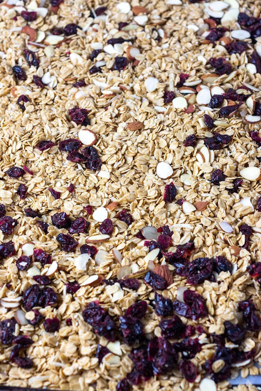 granola on tray