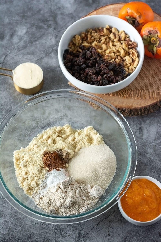 Ingredients for persimmon cookies