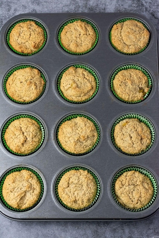Overlay of vegan persimmon banana muffins