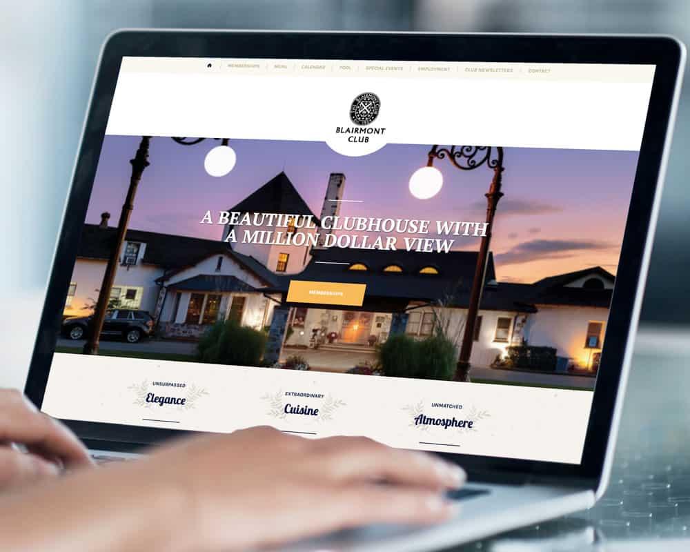 Blairmont Club website displayed on a laptop