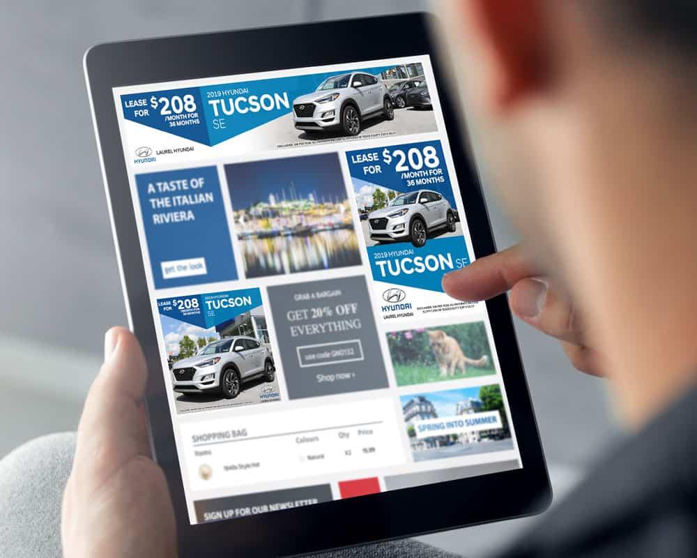 Laurel Hyundai digital ads displaed on a tablet