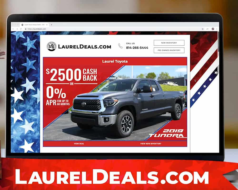 Still from Laurel Auto Group video featuring laureldeals.com