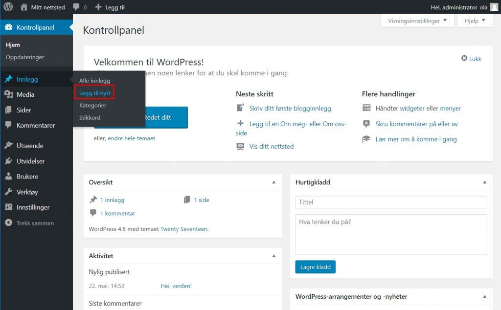 Slik skriver du innlegg i WordPress 1