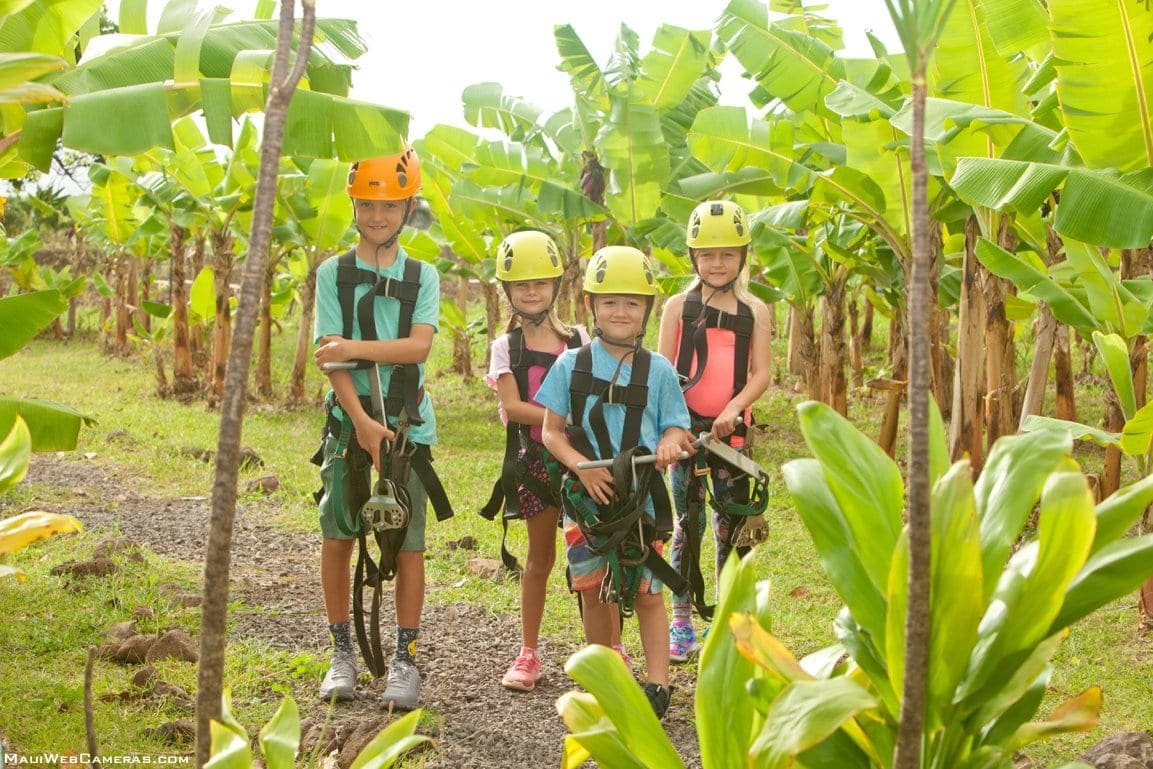 kids going ziplining