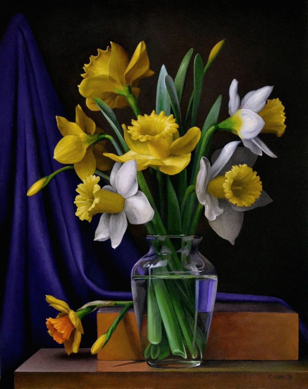 Daffodils with Purple Drape 20″ x 16″ sold
