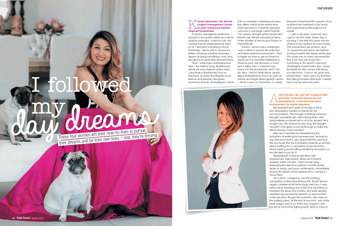 Kumari Govender Your Family Magazine August 2015 - Fashion Career