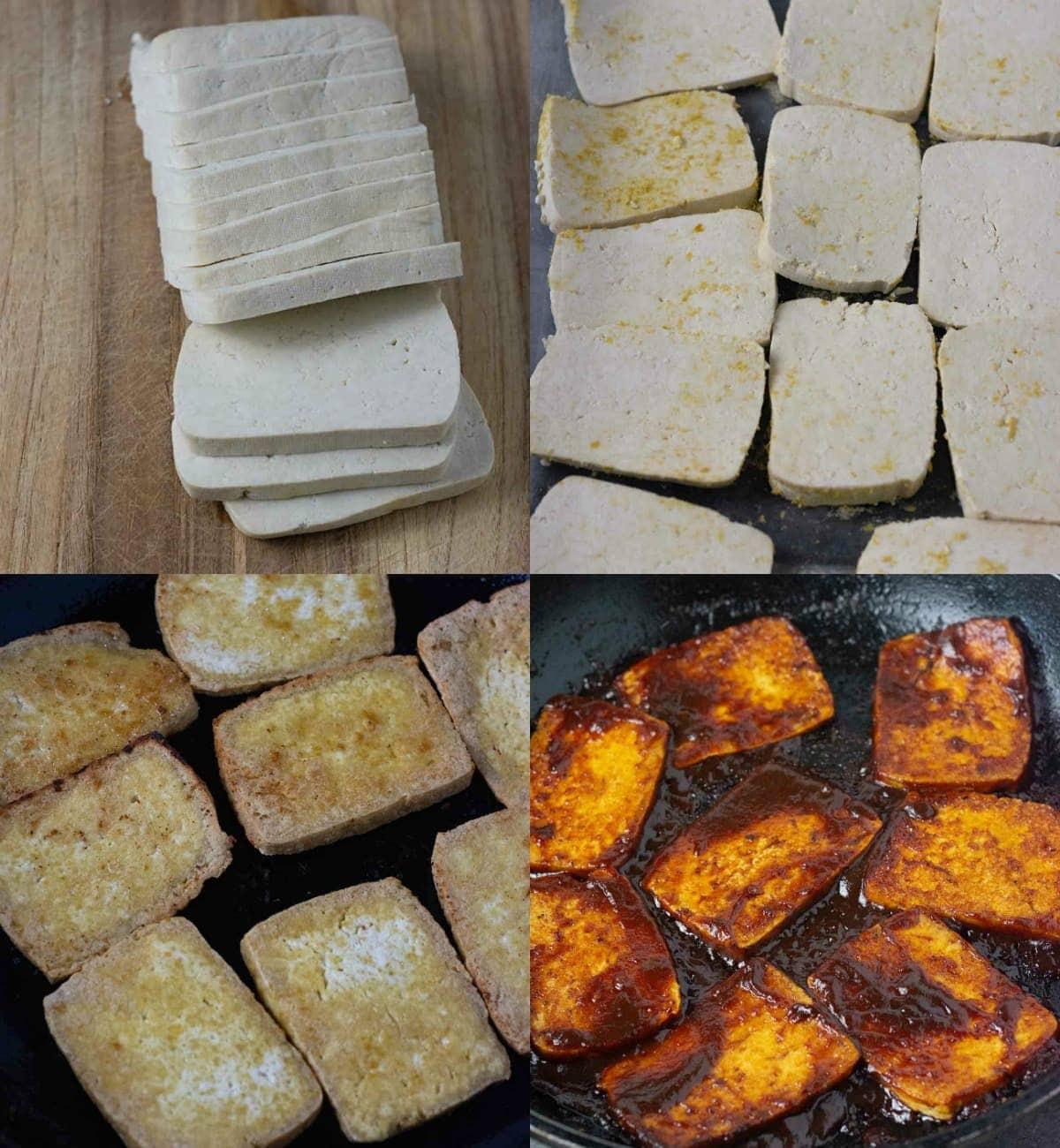Step by step barbecue tofu images, tofu slices, seasoned slices, fried tofu and barbecue sauce tofu