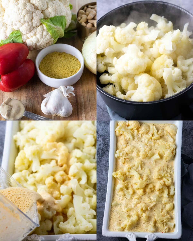 Vegan cauliflower casserole steps