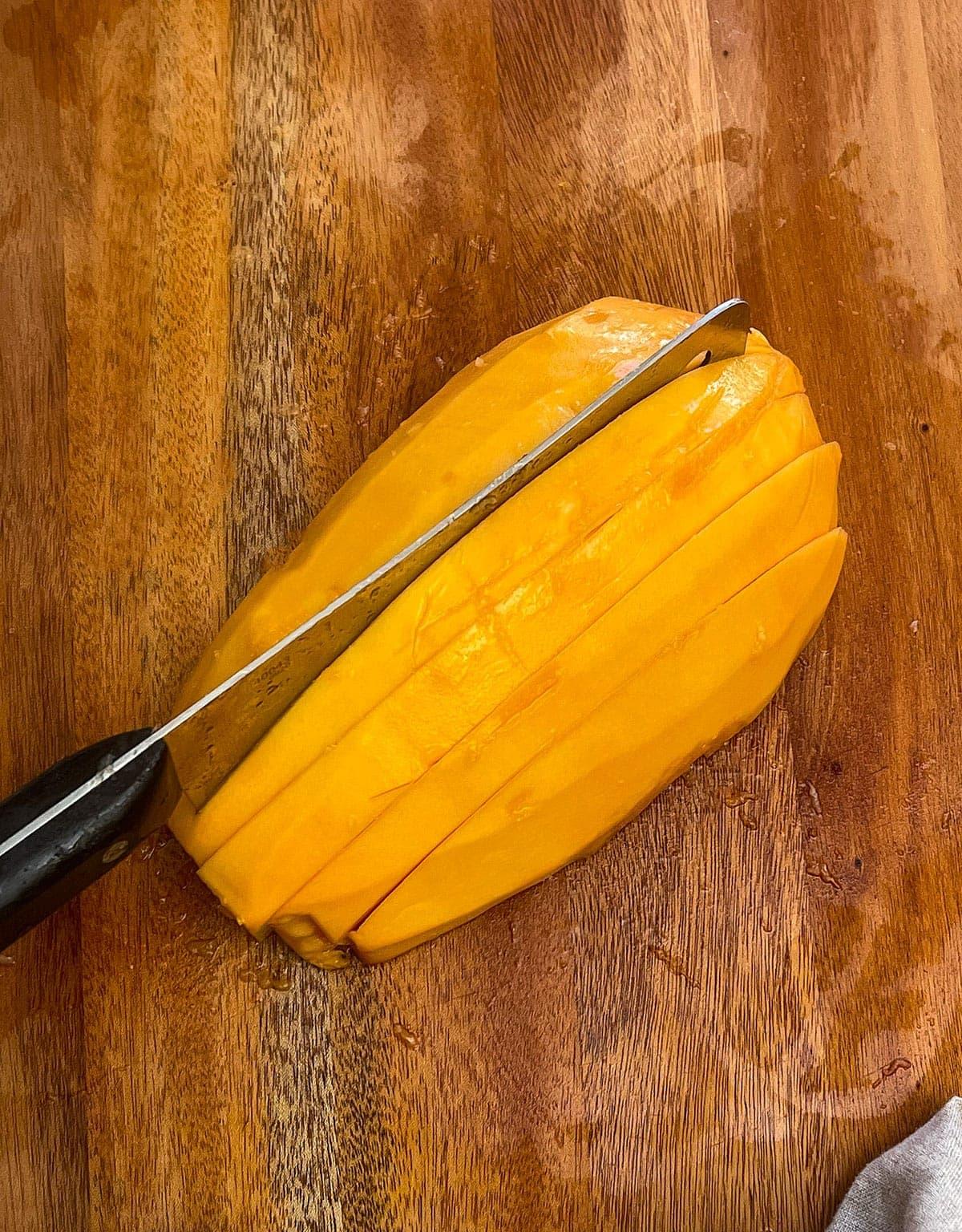 Papaya cut into spears