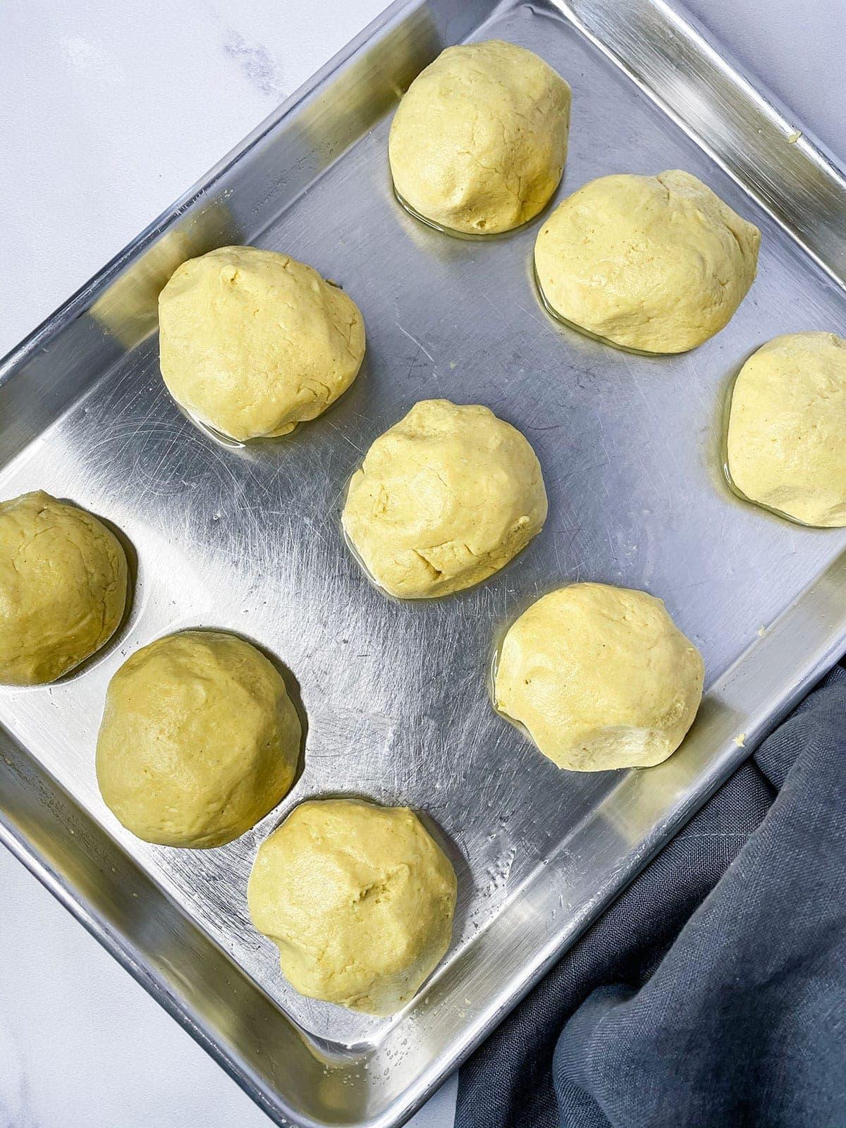 dough ball for doubles on a baking sheet